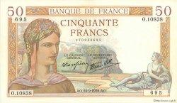 50 Francs CÉRÈS modifié FRANCE  1939 F.18.30 SUP