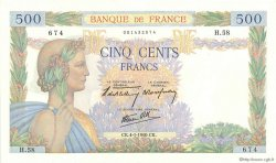 500 Francs LA PAIX FRANCE  1940 F.32.01 SPL