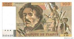 100 Francs DELACROIX modifié FRANCE  1980 F.69.04a AU+