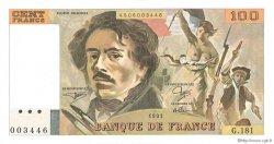 100 Francs DELACROIX imprimé en continu FRANCE  1991 F.69bis.03b1 SPL+
