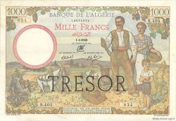 1000 Francs Algérie surchargé FRANCE  1943 VF.10.01 TTB+