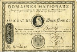 200 Livres FRANCE  1790 Muz.14 TB