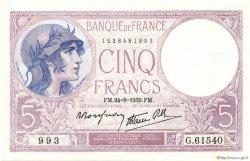 5 Francs VIOLET modifié FRANCE  1939 F.04.07 pr.NEUF