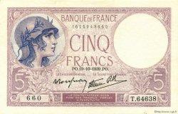 5 Francs VIOLET modifié FRANCE  1939 F.04.12 pr.NEUF