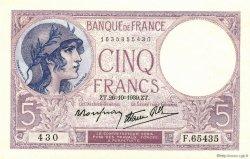 5 Francs VIOLET modifié FRANCE  1939 F.04.13 NEUF