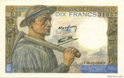 10 Francs MINEUR FRANCE  1942 F.08.06