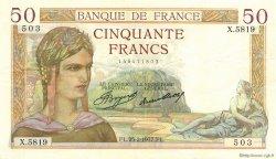 50 Francs CÉRÈS FRANCE  1937 F.17.35 SUP