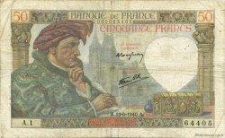 50 Francs JACQUES CŒUR FRANCE  1940 F.19.01 pr.TB