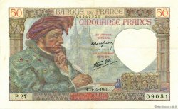 50 Francs JACQUES CŒUR FRANCE  1940 F.19.04 SUP+