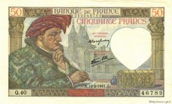 50 Francs JACQUES CŒUR FRANCE  1941 F.19.06 pr.NEUF