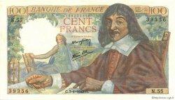 100 Francs DESCARTES FRANCE  1943 F.27.03 SUP à SPL