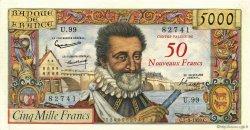 50 NF sur 5000 Francs HENRI IV FRANCE  1959 F.54.02 SUP à SPL