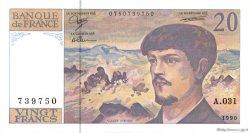 20 Francs DEBUSSY à fil de sécurité FRANCE  1990 F.66bis.01a pr.NEUF