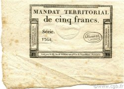 5 Francs Monval sans cachet FRANCE  1796 Ass.63a SUP+