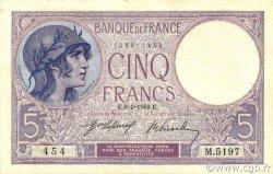 5 Francs VIOLET FRANCE  1919 F.03.03 SUP+
