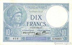 10 Francs MINERVE modifié FRANCE  1941 F.07.30 SPL+
