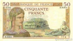 50 Francs CÉRÈS modifié FRANCE  1938 F.18.13 SUP+
