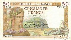 50 Francs CÉRÈS modifié FRANCE  1939 F.18.28 TTB à SUP