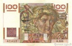 100 Francs JEUNE PAYSAN filigrane inversé FRANCE  1953 F.28bis.02 pr.NEUF