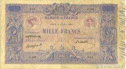 1000 Francs BLEU ET ROSE FRANCE  1892 F.36.04 TB+