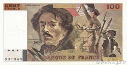 100 Francs DELACROIX imprimé en continu FRANCE  1990 F.69bis.02e2 TTB+ à SUP