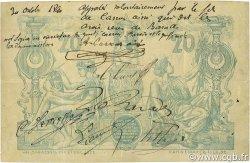 20 Francs type 1873 avec ALGER ALGÉRIE  1887 P.015x TTB