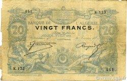 20 Francs type 1873 avec ALGER ALGÉRIE  1884 P.015x pr.TB