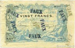20 Francs ALGÉRIE  1892 P.015x TTB