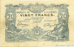 20 Francs type 1873 avec ALGER ALGÉRIE  1898 P.015x TTB