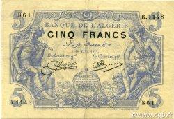 5 Francs type 1873 ALGÉRIE  1917 P.071b TTB