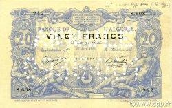 20 Francs type 1873 sans ALGER ALGÉRIE  1910 P.072s SUP