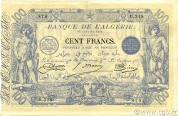 100 Francs type 1874 sans ALGER ALGÉRIE  1919 P.074 TTB+