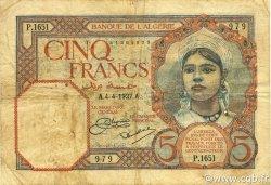 5 Francs type 1924 ALGÉRIE  1927 P.077a TB+