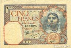5 Francs type 1924 ALGÉRIE  1927 P.077a TTB+