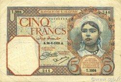 5 Francs ALGÉRIE  1928 P.077a TTB
