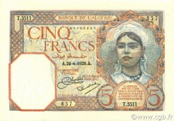 5 Francs ALGÉRIE  1929 P.077a pr.NEUF