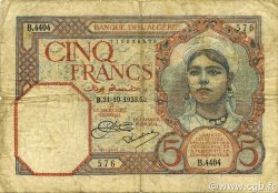 5 Francs type 1924 ALGÉRIE  1933 P.077a TB