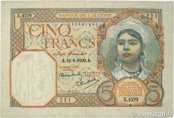 5 Francs type 1924 ALGÉRIE  1939 P.077a TTB à SUP