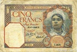 5 Francs ALGÉRIE  1940 P.077a TB+