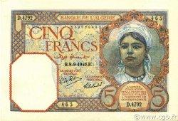 5 Francs type 1924 ALGÉRIE  1940 P.077a SPL