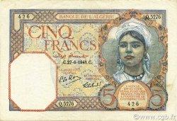 5 Francs type 1924 numérotation inversée ALGÉRIE  1941 P.077b TTB à SUP