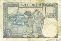 5 Francs type 1924 numérotation inversée ALGÉRIE  1941 P.077b TB