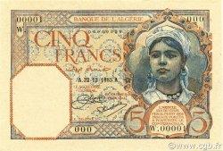 5 Francs type 1924 ALGÉRIE  1926 P.077s NEUF