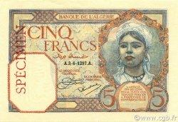 5 Francs ALGÉRIE  1927 P.077s pr.NEUF