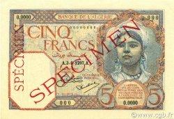 5 Francs type 1924 ALGÉRIE  1927 P.077s pr.NEUF
