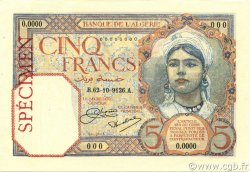 5 Francs ALGÉRIE  1926 P.077s pr.NEUF