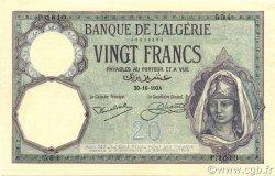 20 Francs type 1912 ALGÉRIE  1924 P.078b pr.SPL