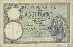 20 Francs ALGÉRIE  1926 P.078b TB