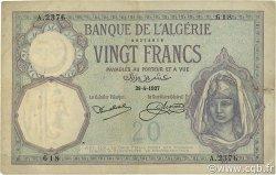 20 Francs type 1912 ALGÉRIE  1927 P.078b TB à TTB