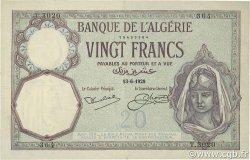 20 Francs type 1912 ALGÉRIE  1929 P.078b TTB à SUP